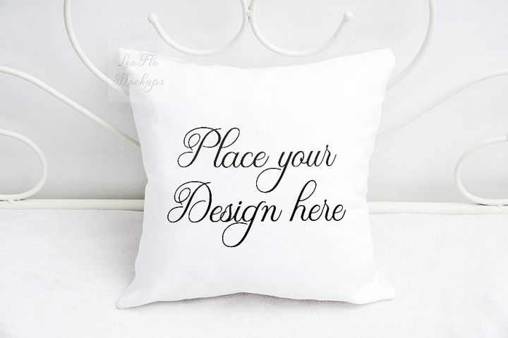 White pillow mock up cushion template mockup on blanket