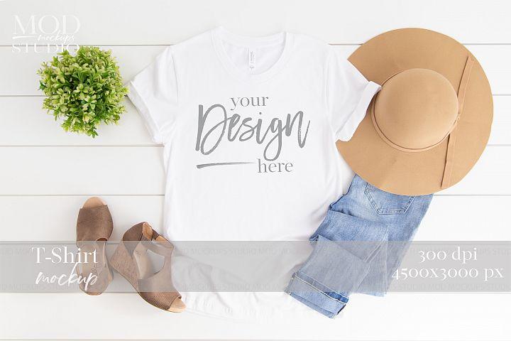 White T-Shirt Mockup | 3001 Bella and Canvas Tshirt Mock up