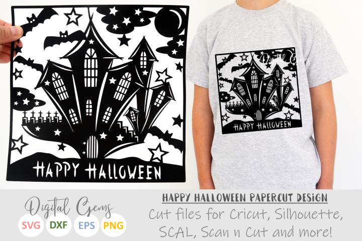 Halloween castle paper cut SVG DXF EPS files