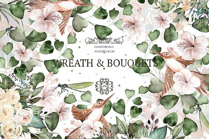 Watercolor Wreath & Bouquets