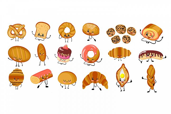 Set of funny bakery, bakery characters with human faces, car