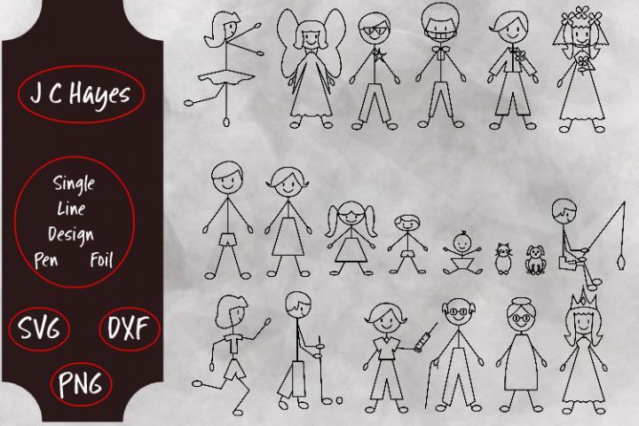 Stick Figures Single Line, Sketch Pen, Foil