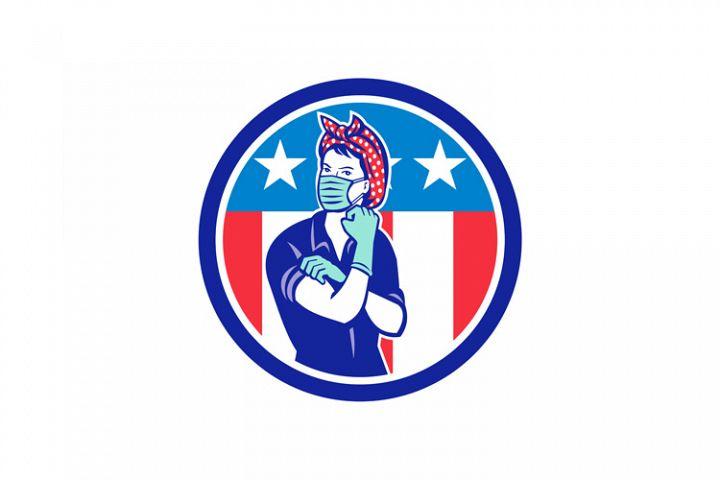 Rosie The Riveter Wearing Mask USA Flag Mascot