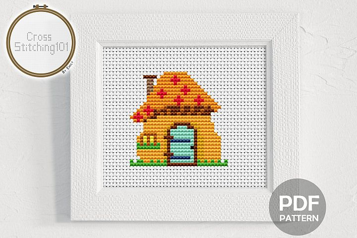 Mushroom House Cross Stitch Pattern - Instant Download PDF