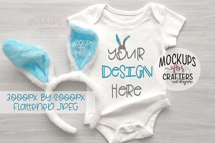 Baby Bodysuit Mock-Up, Bunny, Easter, Spring
