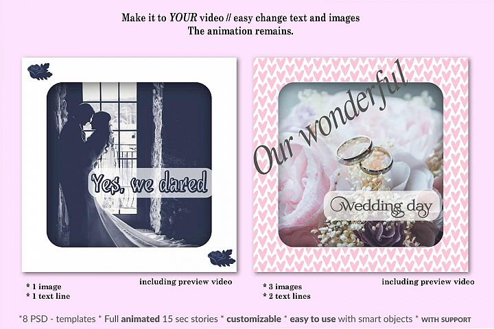 MOCKUP - Animated Instagram templates, Wedding, inc. custom example 6