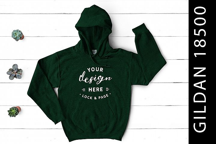 Forest Green Gildan 18500 Hooded Top Mockup