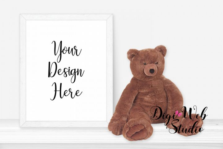 Baby / Nursery Mockup - White Frame on Shelf w/ Teddy Bear