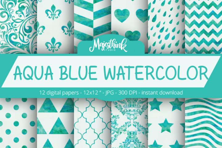 AQUA BLUE Watercolor Digital Paper Pattern - with star, heart, damask, chevron, herringbone, stripe, triangle pattern on paper