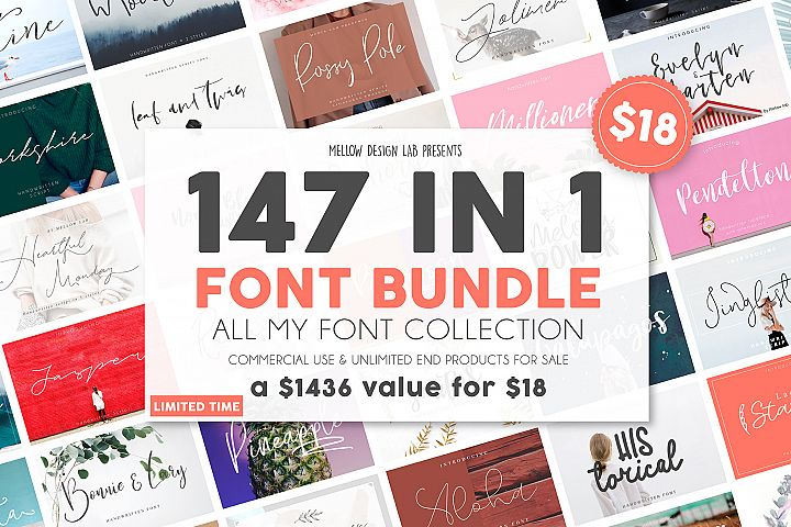 147 IN 1 Font Bundle SALE!