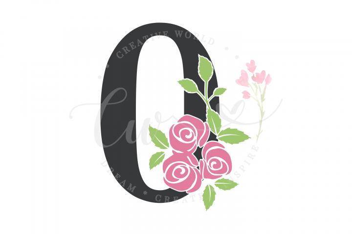 number 0 Birthday Rose Flower SVG | Birthday Girl svg