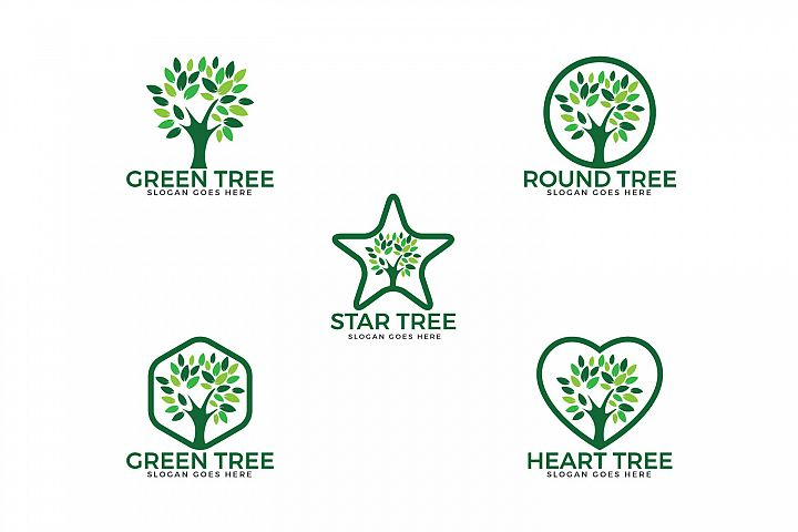 Tree logos set design.