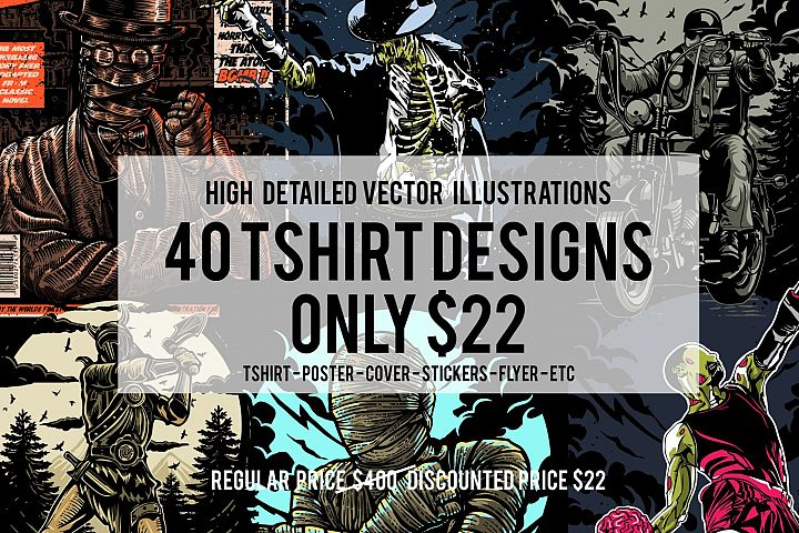 40 Tshirt Designs Bundle