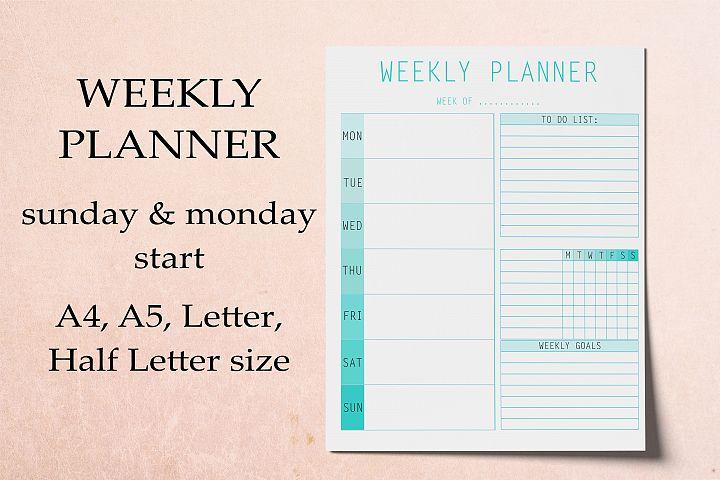 Weekly Planner Printable, Digital Planner, Planner Pages