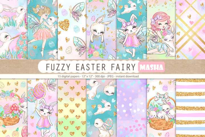 FUZZY EASTER FAIRY digital papers