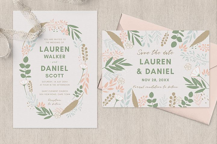 Spring Wreath Wedding Invitation Suite