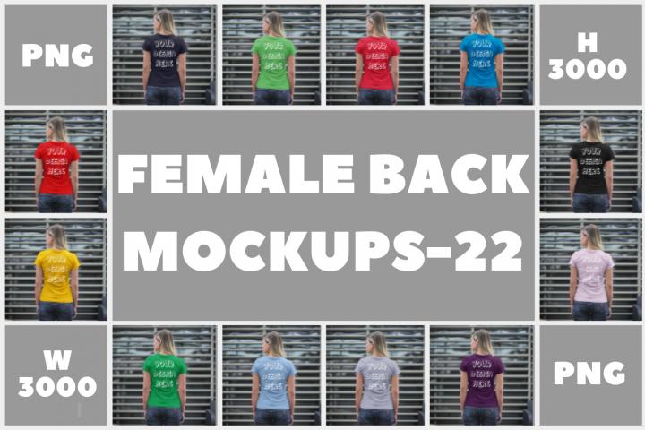 Female Back View T shirt Mock ups - 22