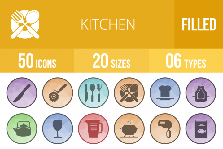 50 Kitchen Filled Low Poly Icons