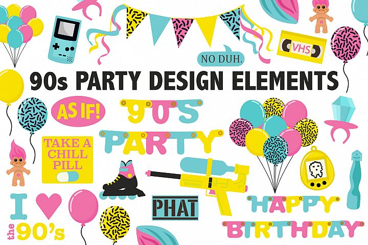 90s Birthday Party Clipart