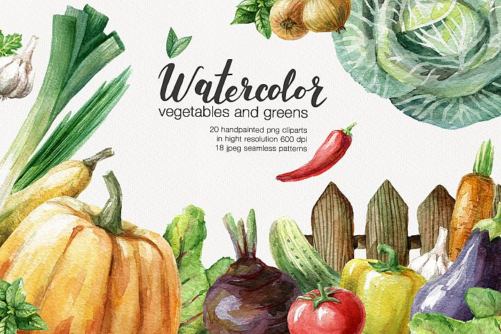 Watercolor vegetables and greens