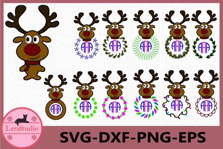 Deer Head Monogram Frame, Deer Monogram SVG,Christmas Deer