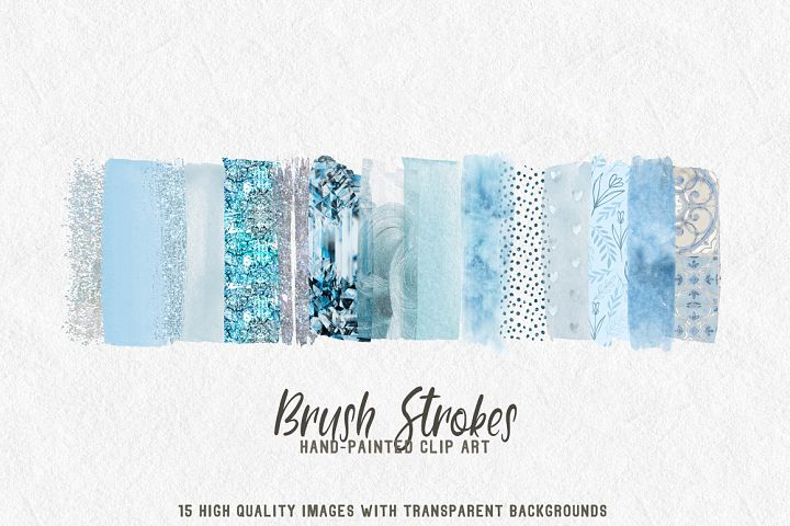 15 brush strokes clipart pale blue