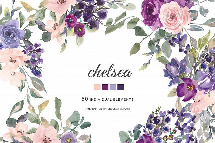 Watercolor Plum Lavender Blush Pink Dark Purple Flowers Clip
