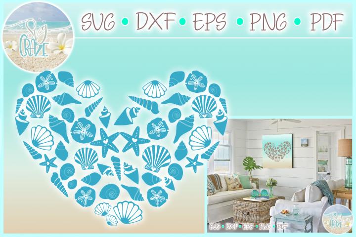 Seashell Heart Mandala Zentangle SVG Dxf Eps Png PDF files