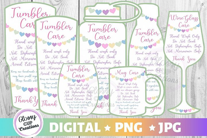 Tumbler Mug Wine Glass Care Cards 7 PACK! Hearts! PNG - JPG
