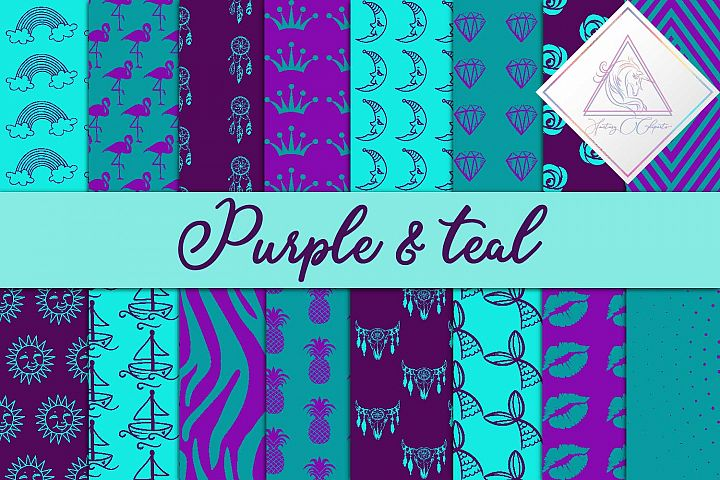 Purple & Teal Digital Paper