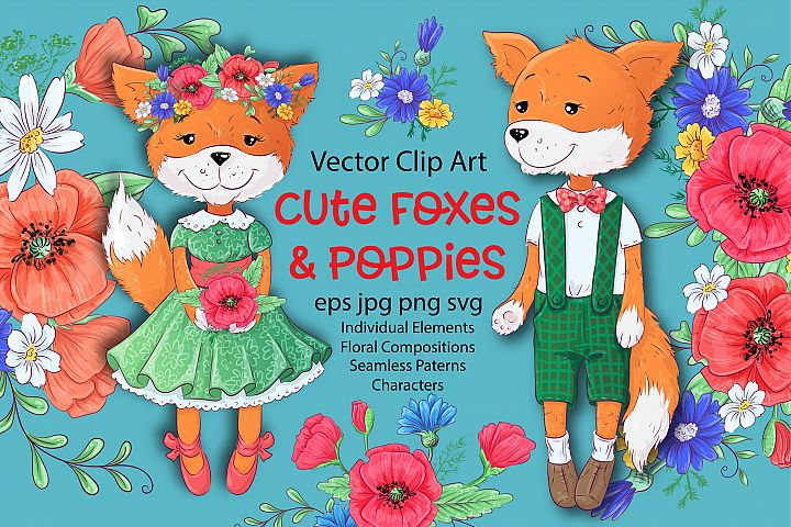 Cute Foxes and poppies - vector clip art