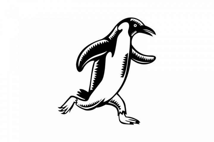 Gentoo Penguin Running Woodcut