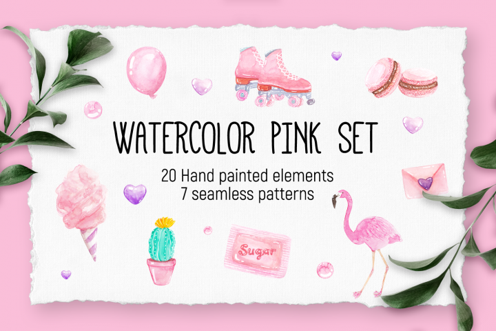 Hand Painted Watercolor Pink Set