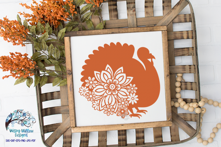 Floral Turkey SVG   Thanksgiving SVG   Fall SVG Cut File