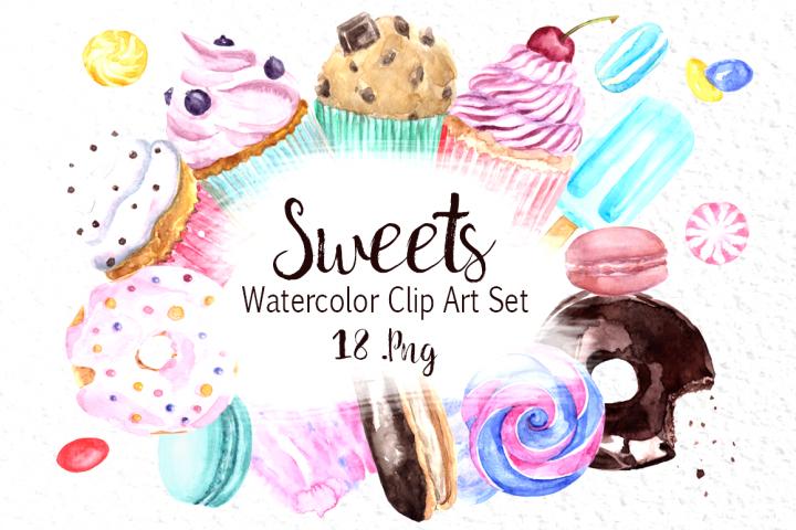 Watercolor Sweets Clip Art Set