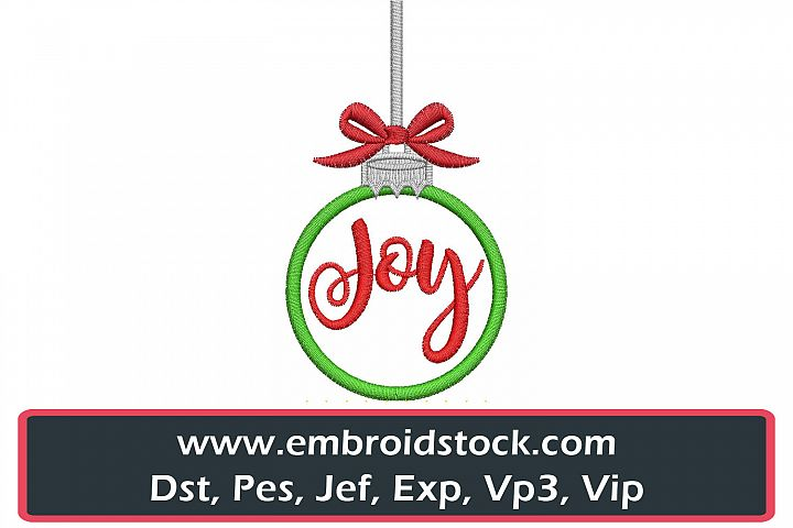 Christmas Joy Ornament Embroidery Design