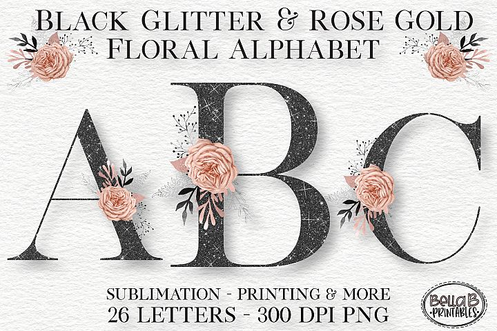 Black Glitter and Rose Gold Floral Alphabet Set, Clipart