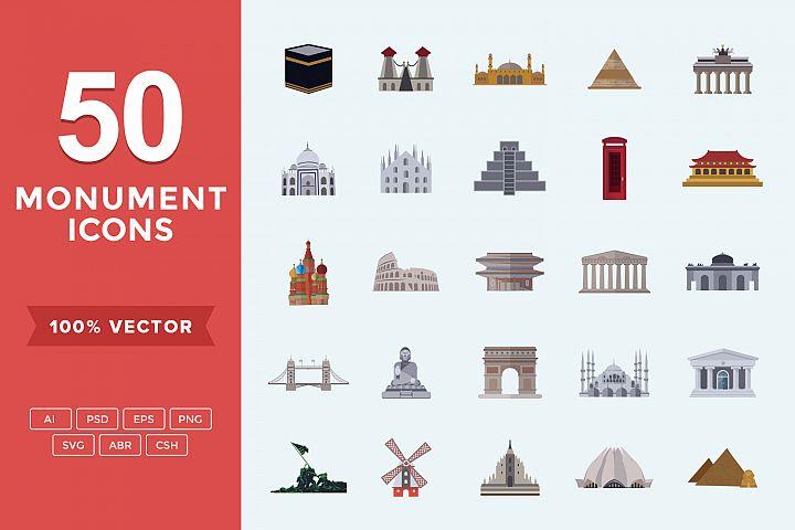 Flat Icons Monuments Set