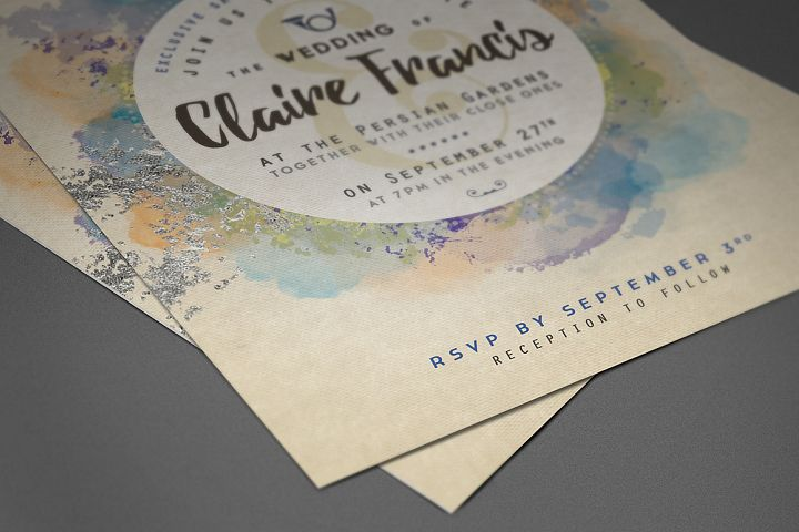 Pure Silver Watercolor Wedding Card example 5