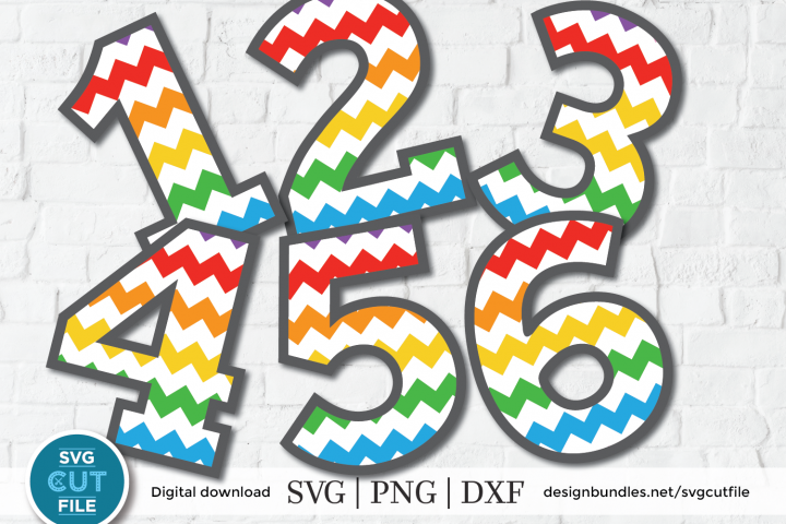 Chevron numbers SVG, cheveron number svg, zigzag numbers svg
