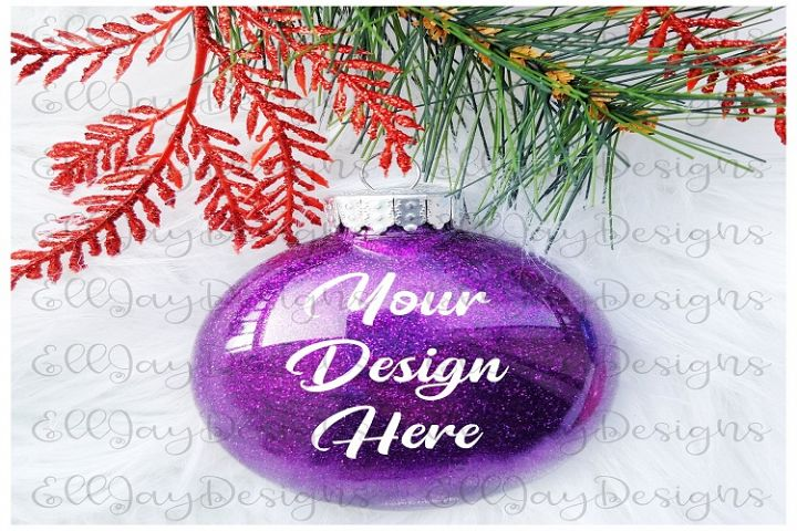 Purple Christmas Glitter Ornament Mock up