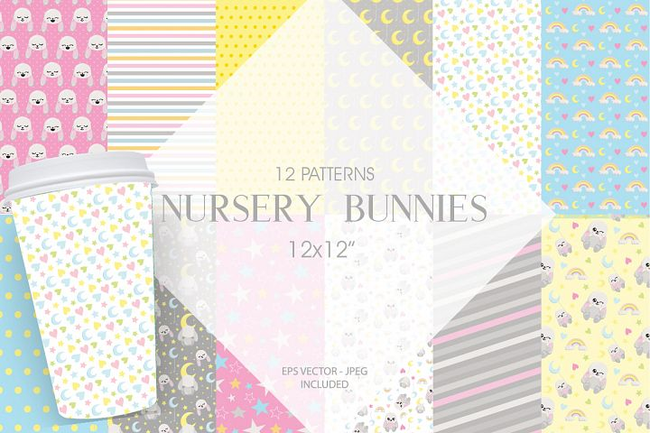 Nursery Bunnies Pattern collection, vector ai, eps and j