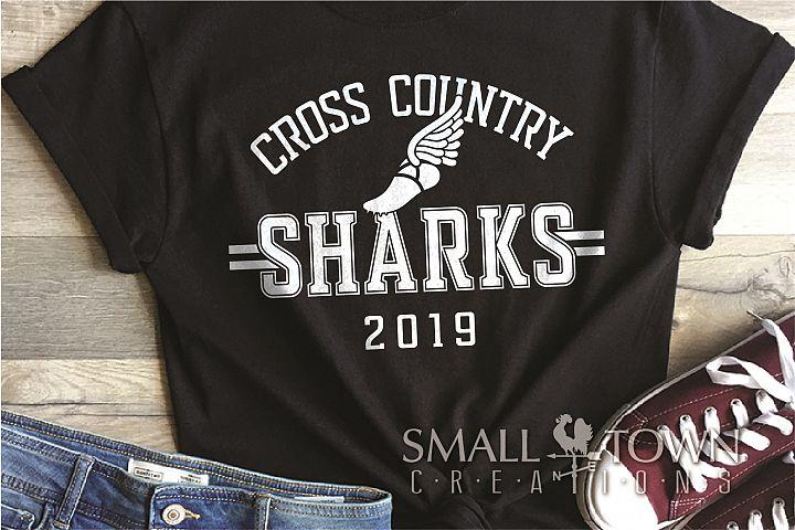 Sharks Cross Country, Shark mascot, PRINT, CUT, DESIGN