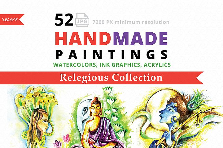 Handmade Paintings pack of 52 Relegious Collection.