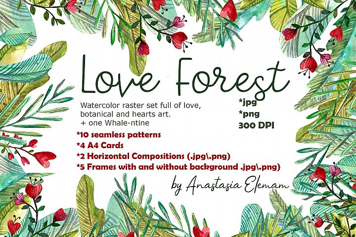 Love forest watercolor set with patterns, cards, wreaths