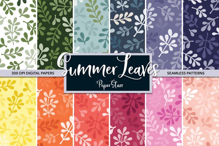 Summer Leaf Pattern Digital Paper