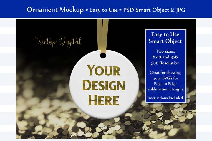 Christmas Ornament Mockup, Gold Sparkles, Smart Object & JPG