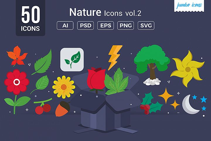 Flat Vector Icons Nature Pack V2