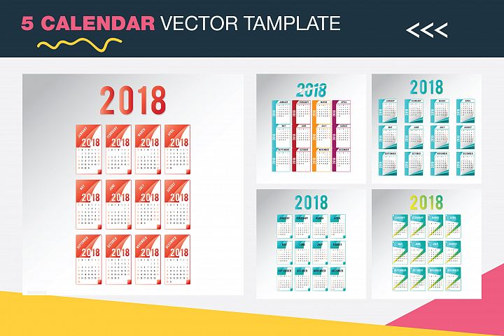 5 Calendar 2018 Vector Tamplate