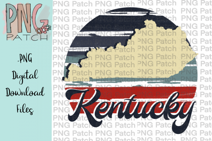 Retro Red, White, and Blue, Kentucky, State PNG File